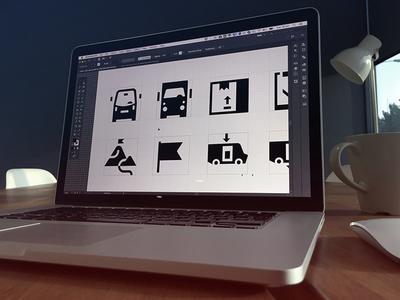 Logistics — Icon Set WIP noum glyphs web app logistics icons