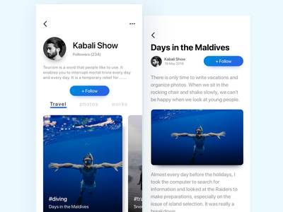 Travel history app social follow attention ui color recording travel app