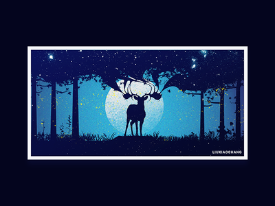 The night sky and the Elk sky elk design illustration