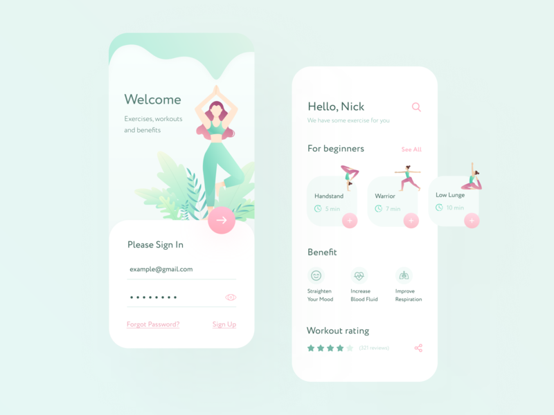 Yoga Mobile App mobile app sport ui sing in fitness workout light meditation relax yoga clean mobile ui design mobile mobile ui iphone design