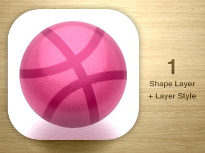 One Layer Style Challenge - Dribbble Icon  psd white pink icon challenge photoshop ball
