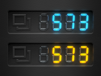 Storage Remaining Capacity for Digital Camera blue orange black numbers ui photoshop camera neon