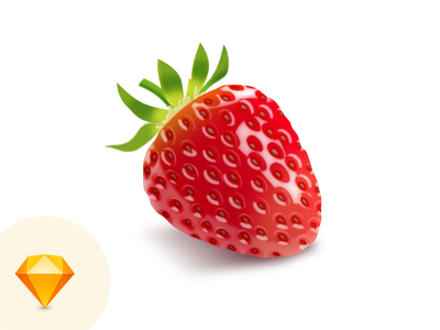 Strawberry strawberry fruit green red sketch icon