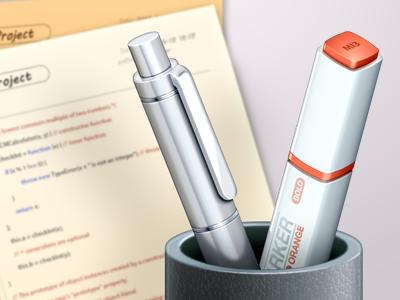 Pen & Marker ( part of application icon ) silver pen texteditor white icon plastic