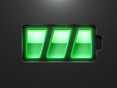 Battery led lether green skeuomorphic sketch
