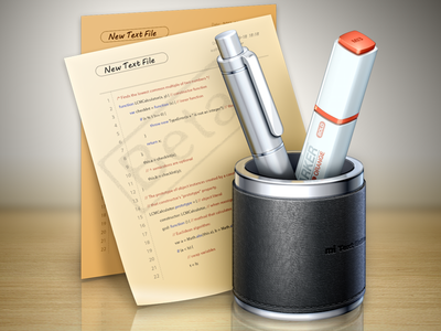 Text Editor app Icon 3 icon editor leather metal pen marker