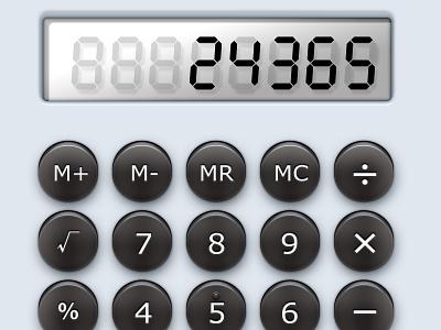 Desk Calculator white black lcd button