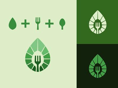 LEAF FORK SPOON LOGO food foodie food app brand design restaurant branding logo-design icon identity minimal-logo logodesign design branding logo resturantlogo resturant foodlogo leaf logo