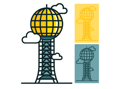 The ORIGINAL Sunsphere Sticker thick lines graphic design worlds fair sticker knoxville sunpshere mark logo label design brand tennessee