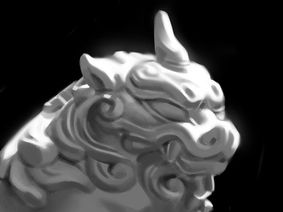 Lighting Study: Komainu digital illustration shrine guardian lion dog fu dog painting study sculpture study photoshop lighting study digital art digital painting contrast
