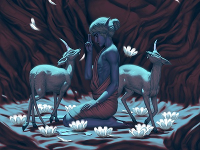 Virtues Series: Purity digital painting monk fantasy meditation flower lotus forest elf mythical myth unicorn