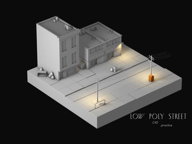 low poly street low poly lowpoly octane render webgl cinema 4d c4d 3d design
