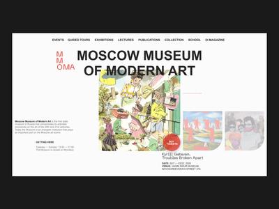 MMOMA index page concept ui design uidesign ui brutal brutalism museum branding typography website web design