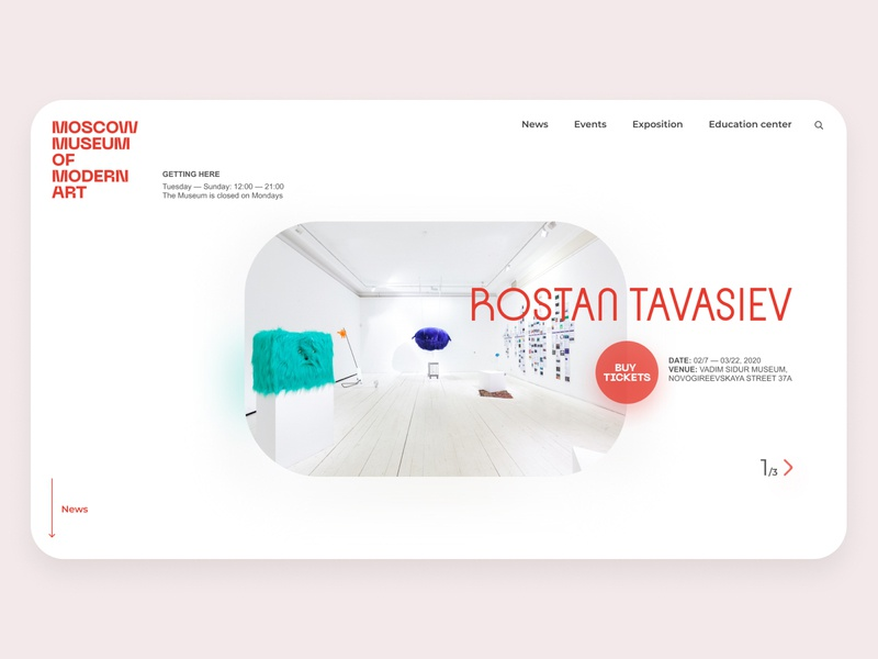 MMOMA index page concept #3 minimalism museum branding website typography design clean
