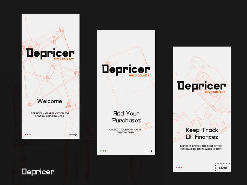 Depricer Onboarding onboarding app design app brutalism brutal typography web design