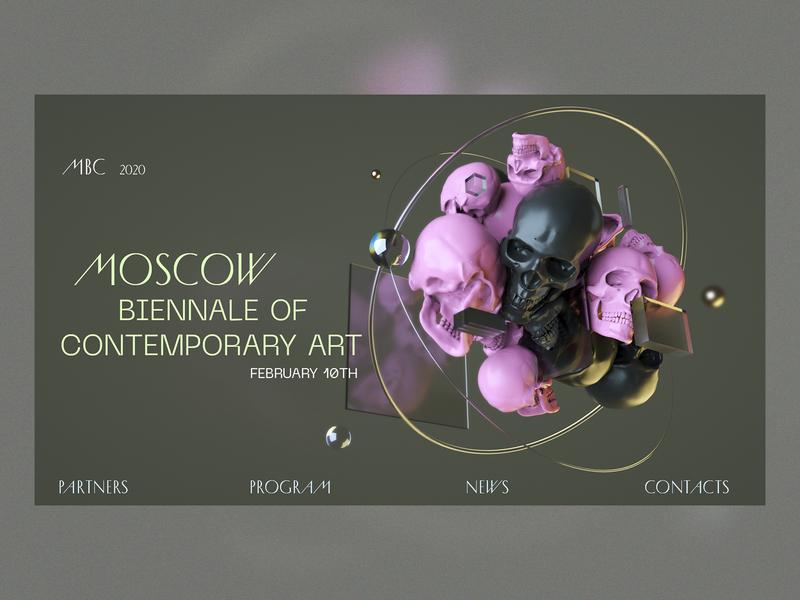 Moscow Biennale of Contemporary Art / concept webgl ui  ux ux ui web design octane c4d 3d cinema 4d