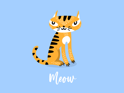 Meow animal cute pussy kitty cat meow illustration
