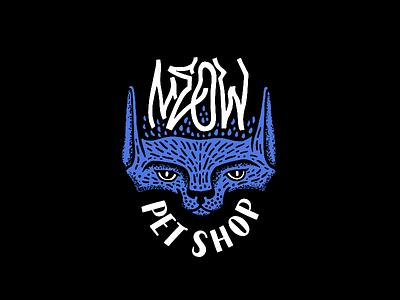 Meow shop pet kitty meow kitten cat illustration typography branding