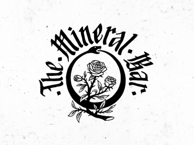 The Mineral Bar hand lettering calligraphy gothic snake lettering typography