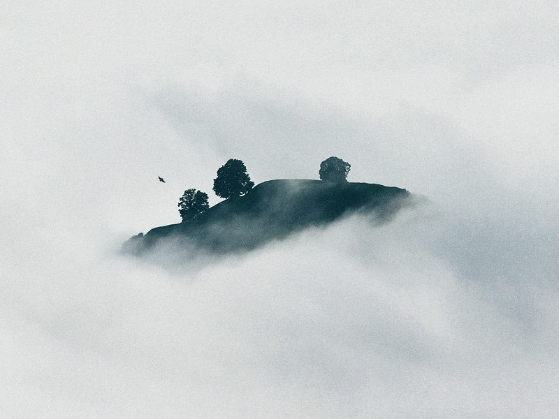 In the Clouds hermtheyounger conceptual island clouds photography graphic design album cover herm the younger art