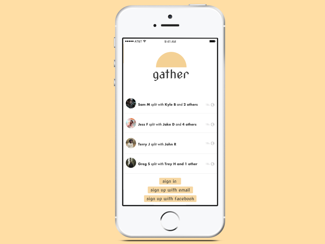 Gather Mockup branding design app