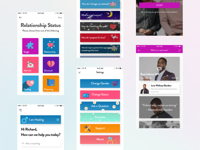 Make it work - Mobile app for couples redesign mobile love match ux ui design applications therapy couple relationship social mobile app app