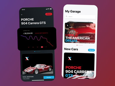 Platform to invest in collector cars car app brand dark theme car collection interface garage car cars collection minimal design applications ui mobile app app