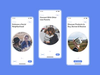 Parents care applications newborn donate family children kids parents design ui social network social mobile app app