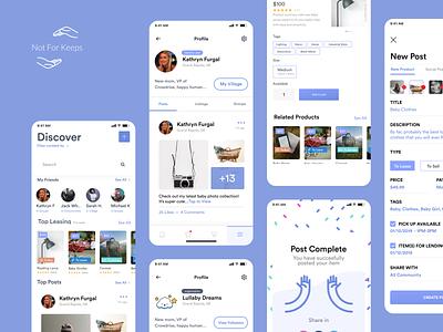 Parents care - Mobile app overview design donate newborn family care children kids parents applications ui social network social mobile app app
