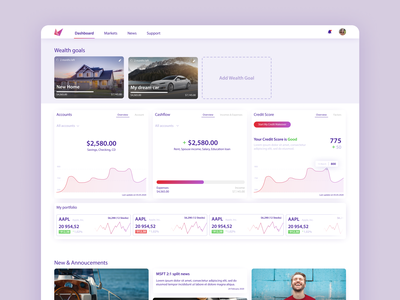 SmartStart - Financial advisory platform platform finance credit score credit money dashboard design ui app