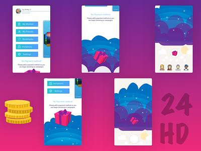 Birthday Crowdfunding App - Menu Shot 2 side menu gift present birthday menu applications app mobile app