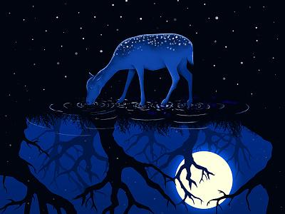 Deer in the moonlight water view tree moon mew illustration forest experience environment digital design deer