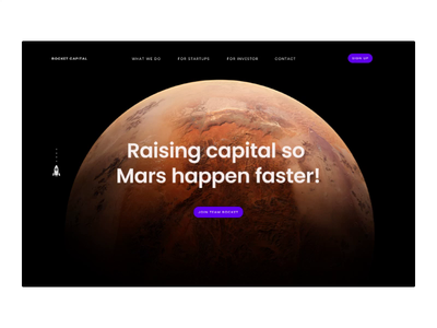 Rocket Capital Landing Page Concept website landing page purple future mars principle app figma startups capital finance ui