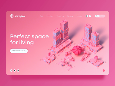 Hello Dribbble! motion 3d web design night animation building city web ux ui