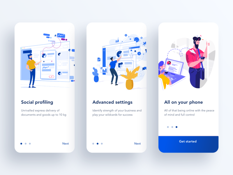 Onboarding concept for a B2B app illustration typography graphic design blue vibrant flat concept promo art material clean mobile app design ui