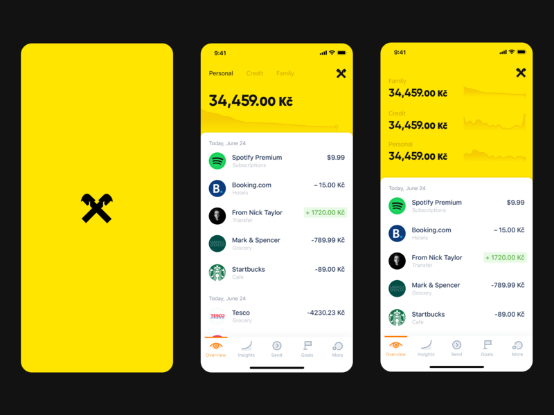Raiffeisen banking app redesign graph transactins fintech bank yellow dark main page ux graphic design vibrant promo list flat material clean mobile cards app design ui