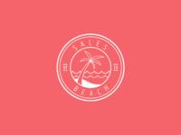 Sales beach logo flat bg