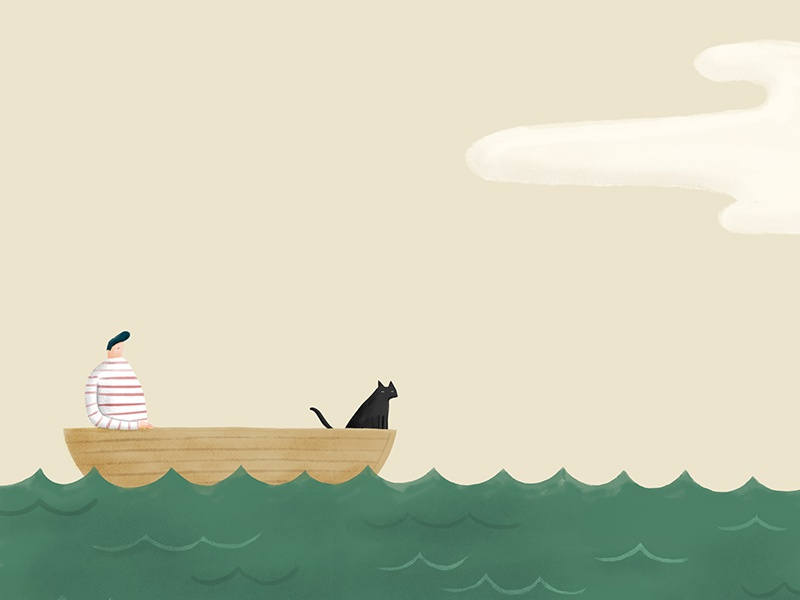 Man Cat And A Boat london melbourne hand drawn photoshop design agency illustrator illustration
