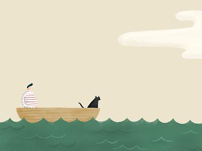 Man Cat And A Boat london melbourne hand drawn photoshop design agency illustrator illustration