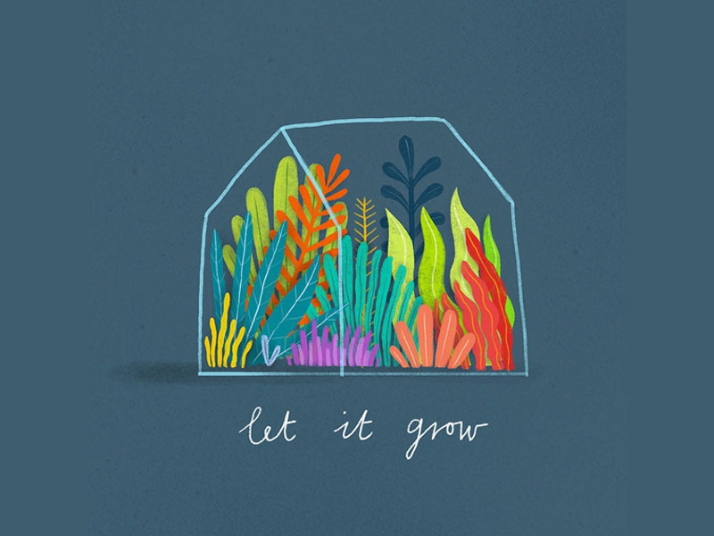 Let It Grow illustrator creative photoshop handdrawn texture vector colour illustration