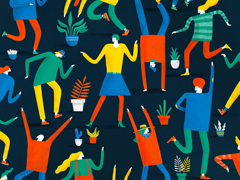 There Ain't No Party Like A Pot Plant Party character lifestyle editorial texture colour creative foliage plants illustration