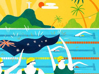 Toyota Australia -Rio Olympics 2016 character lifestyle editorial texture colour creative foliage plants illustration