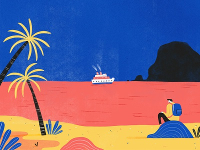 Watchin' the ships roll in character lifestyle editorial texture colour creative foliage plants illustration