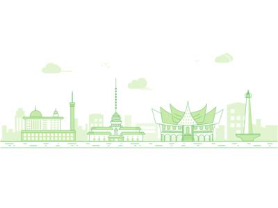 City city minimal sketch daily clean design illustration