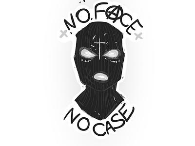 Balaclava riot slogan no face no case black dark sketch vector illustraion riot street art criminal terrorist modern resume fashion case face slogan