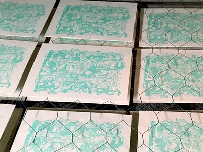 Isla verde / DXTR letterpress print nieuwe hoogte handmade custom print letterpress rotterdam berlin dxtr strupo the simpsons isla verde