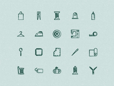 Sketchy Sewing Icons draw icons handmade sew sewing