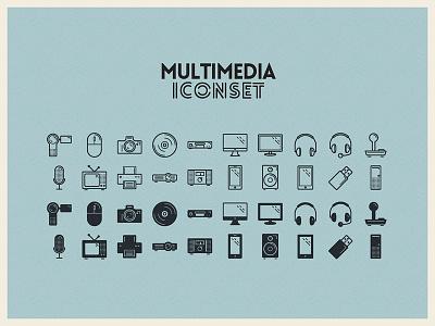 Multimedia Iconset illustration multimedia icons