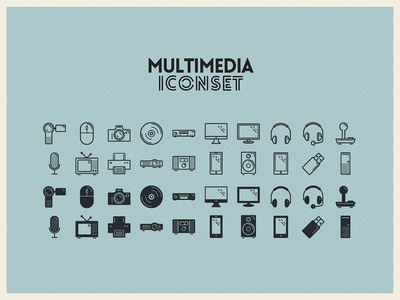 Multimedia Iconset illustration multimedia icons