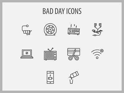 Bad Day Icons nerd failure mistake bad iconset icons